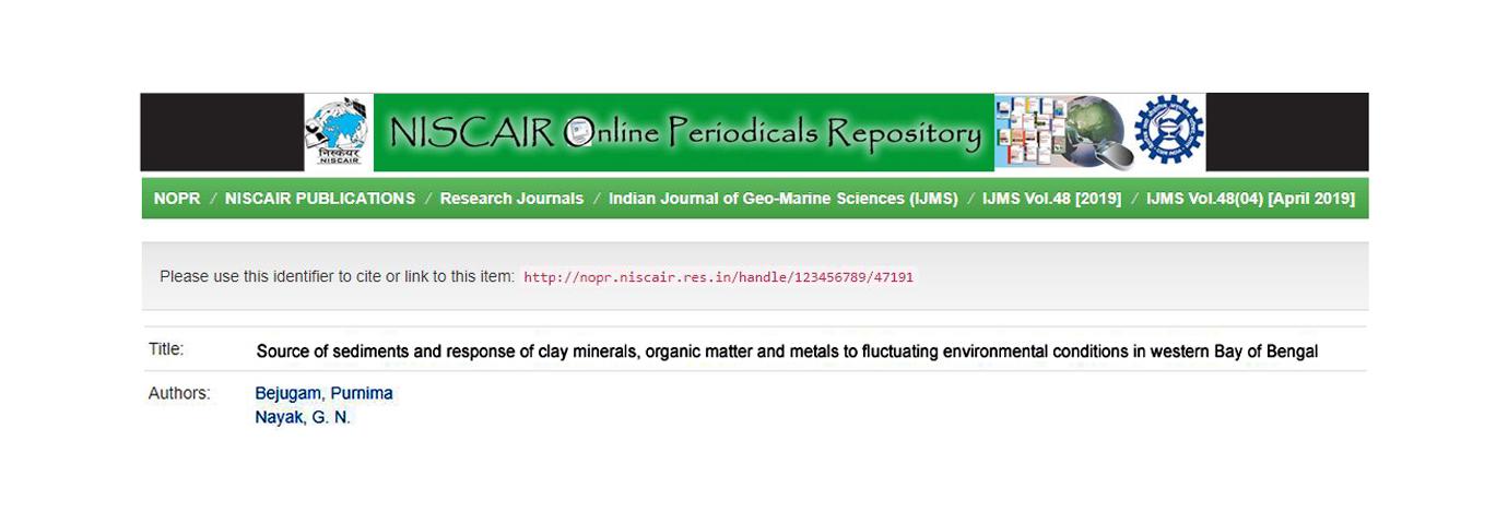 Indian Journal of Geo-Marine Sciences. 48(4); 2019; 535-553